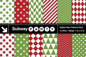 Xmas Red Green Geometric Papers