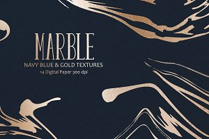 Marble, Navy, Rose & Gold Textures