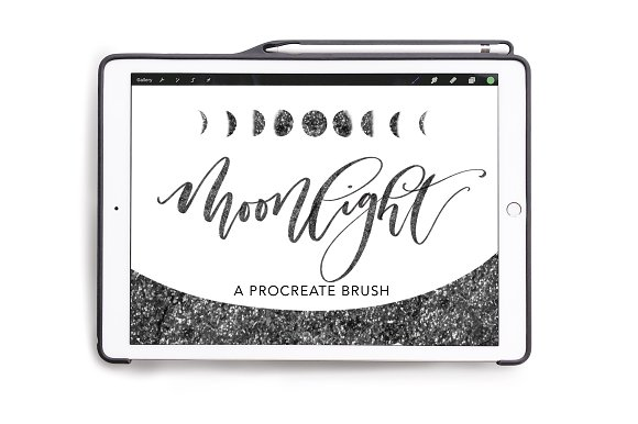 Procreate Sparkly Lettering Brush in Photoshop Brushes - product preview 3