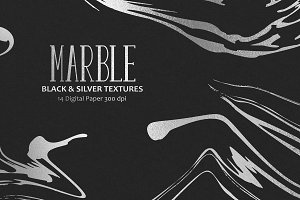 Marble, Black & Silver Textures