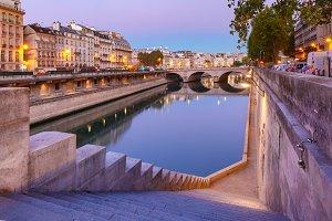 Night Seine and Pont Neuf, Paris