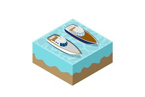 Isometric yacht of a sea cruise