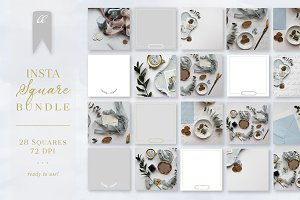 Dusty Blue Insta Square Photo Pack