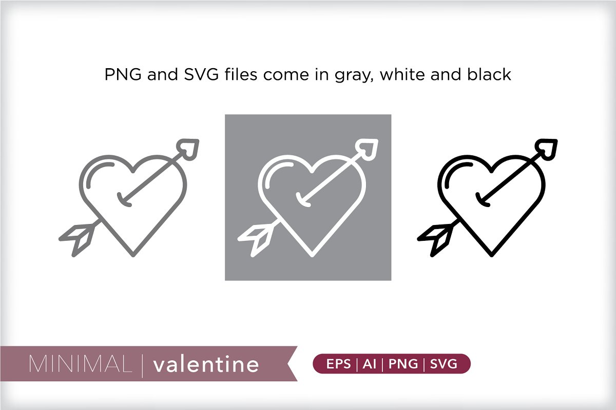 Minimal valentine icons in Holiday Icons - product preview 1