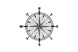 Compass with dial, monochrome icon