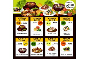 Korean cuisine food dishes, vector