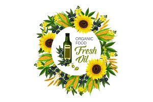 Natural oil and ingredients, vector
