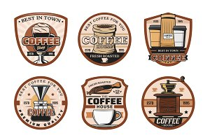 Coffee shop, cups and beans icons