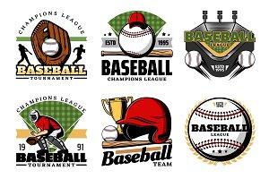 Baseball game, ball and sport icons