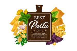 Pasta from Italy, pastry food vector
