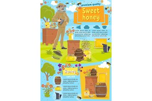 Natural honey and beekeeping, vector