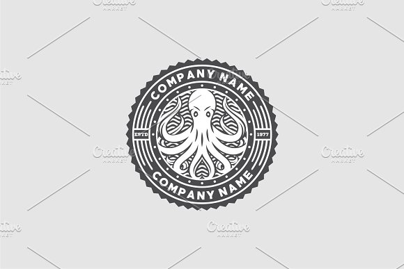 Octopus Stamp Logo Templates Creative Market