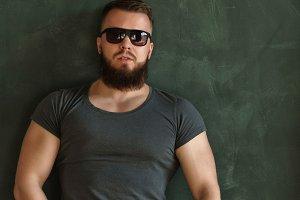 Bodybuilder in sunglasses portrait