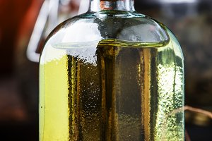Healing pumpkin seed oil in glass bo