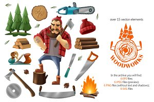 Lumberjack Cartoon Set