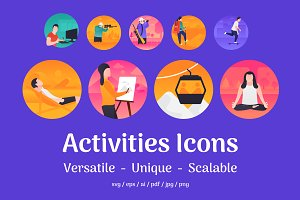 60 Flat Activities Icons