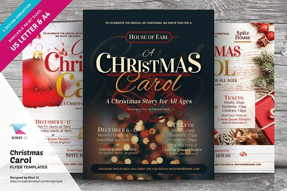 christmas carol flyer templates flyer templates creative market