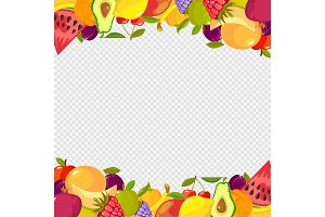 Fruits frame. Healthy vitamin food