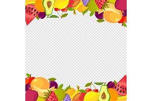 Fruits frame. Healthy vitamin food