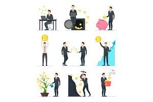 Cartoon Blockchain Concept Set