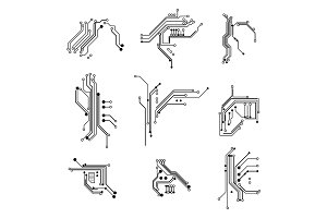 Circuit Board Elements Thin Line Set