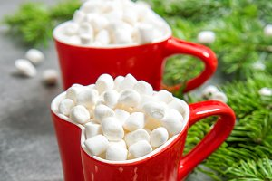 Hot drink marshmallow red Christmas