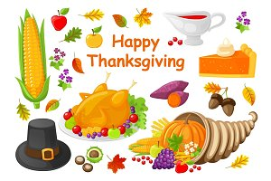 Happy Thanksgiving Poster with Icons