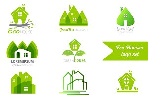 8 eco houses logo templates