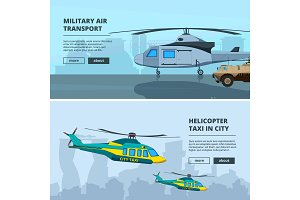 Banners with helicopters. Design