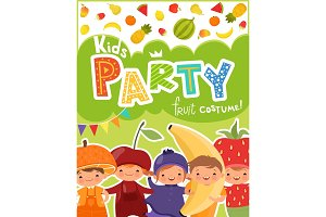 Kids party invitation. Vector design