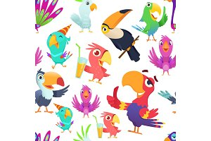 Parrots pattern. Toucan tropical