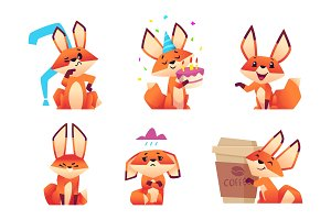 Cartoon fox characters. Orange