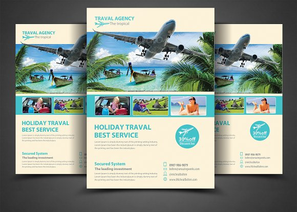 Travel Agency Corporate Flyer Templates Creative Market