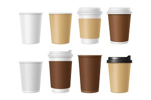 Disposable coffee cup. Blank vector