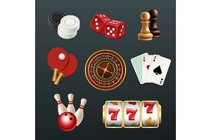 Game realistic icons. Poker dice