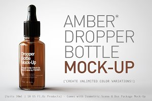 Amber Dropper Bottle Mock-Up & Box