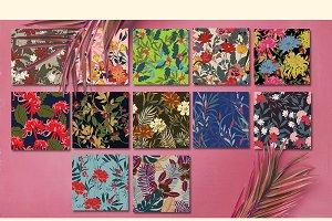 12JPG/EPS Tropical floral pattern