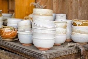 Set of white ceramic bowls.