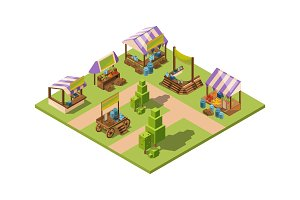Outdoor food market. Isometric local