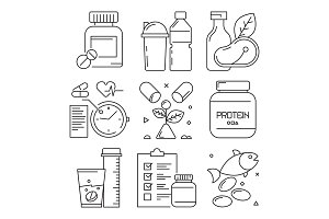 Fitness dietary icons. Sport