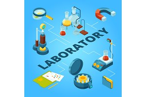 Science laboratory isometric