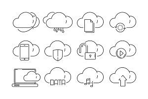 Cloud computing icons. Secure web