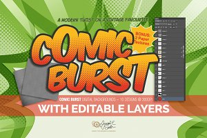 Comic Burst: layered PSD backgrounds