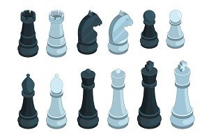 Chess isometric. Board game figures