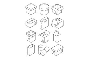 Box outline symbols. Paper wooden or
