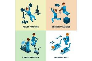 Fitness center isometric. Sport