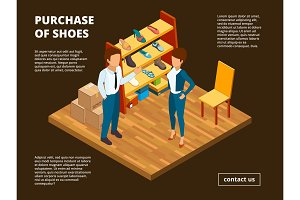 Retail shoe market. Shop store of