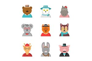 Animal avatars. Cute hipster animals