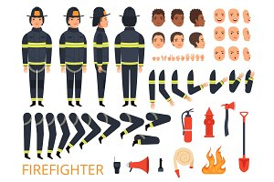 Fireman characters. Firefighter body