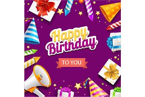 Happy Birthday Placard Banner Card